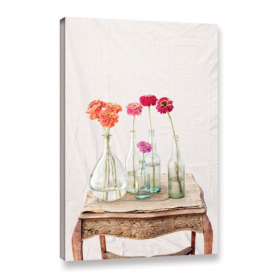 Brushstone Zinnia Flowers Gallery Wrapped Canvas Wall Art
