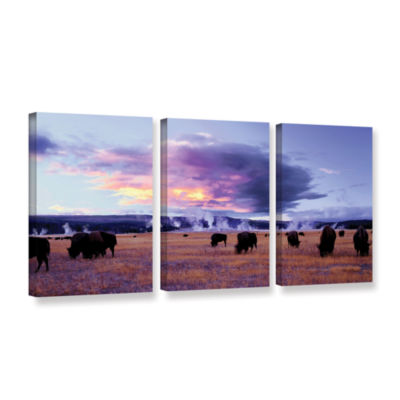 Brushstone Yellowstone Autumn 3-pc. Gallery Wrapped Canvas Wall Art