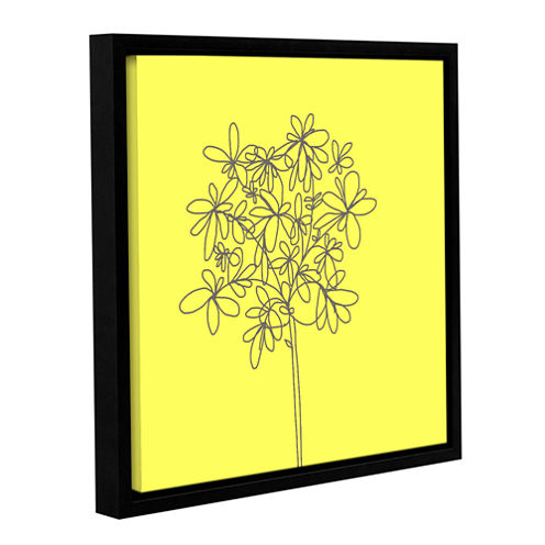 Brushstone Yellow Happy Flower Gallery Wrapped Floater-Framed Canvas Wall Art