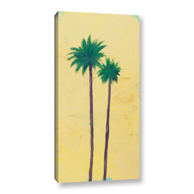 Brushstone Yellow Twin Palms Gallery Wrapped Canvas Wall Art
