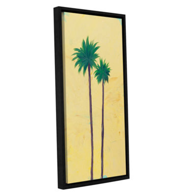 Brushstone Yellow Twin Palms Gallery Wrapped Floater-Framed Canvas Wall Art