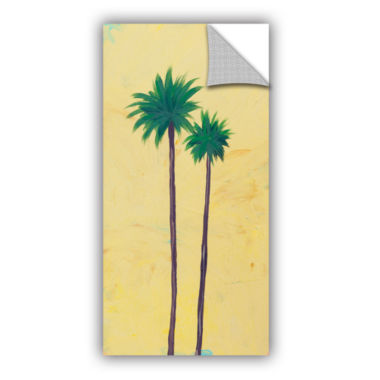 Brushstone Yellow Twin Palms Removable Wall Decal