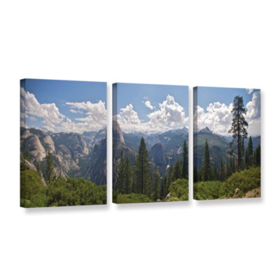 Brushstone Yosemite-Half Dome And Nevada Falls 3-pc. Gallery Wrapped Canvas Wall Art