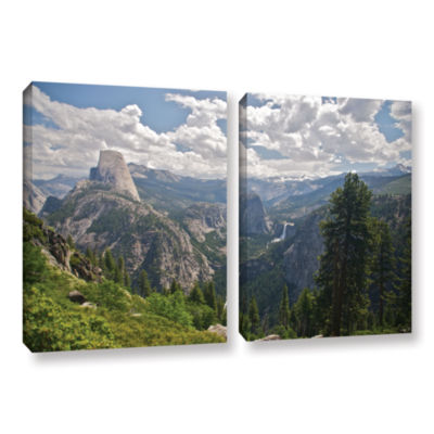 Brushstone Yosemite-Half Dome; Vernal Falls And Nevada Falls 2-pc. Gallery Wrapped Canvas Wall Art