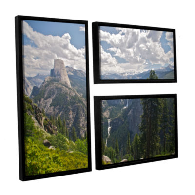 Brushstone Yosemite-Half Dome; Vernal Falls And Nevada Falls 3-pc. Flag Floater Framed Canvas Wall Art