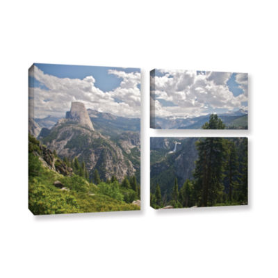 Brushstone Yosemite-Half Dome; Vernal Falls And Nevada Falls 3-pc. Flag Gallery Wrapped Canvas WallArt