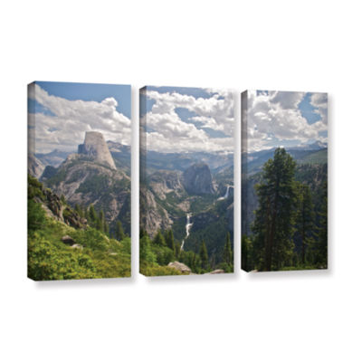 Brushstone Yosemite-Half Dome; Vernal Falls And Nevada Falls 3-pc. Gallery Wrapped Canvas Wall Art