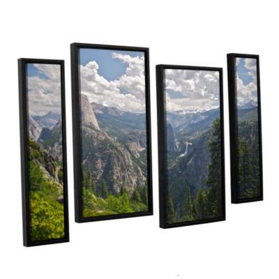 Brushstone Yosemite-Half Dome; Vernal Falls And Nevada Falls 4-pc. Floater Framed Staggered Canvas Wall Art