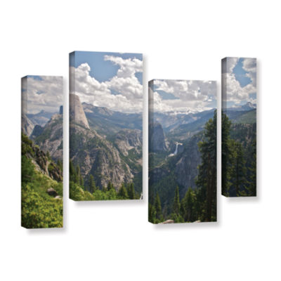 Brushstone Yosemite-Half Dome; Vernal Falls And Nevada Falls 4-pc. Gallery Wrapped Staggered CanvasWall Art