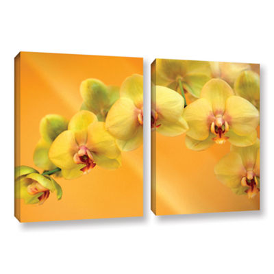 Brushstone Yellow Phalaenopsis 2-pc. Gallery Wrapped Canvas Wall Art