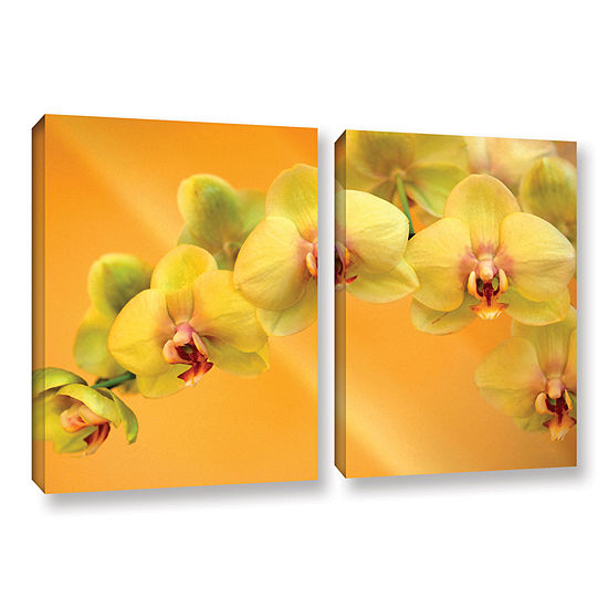 Brushstone Yellow Phalaenopsis 2-pc. Gallery Wrapped Canvas Wall Art