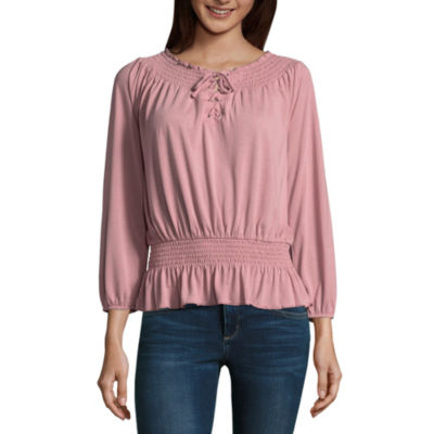 Almost Famous 3/4 Sleeve Round Neck Jersey Blouse-Juniors
