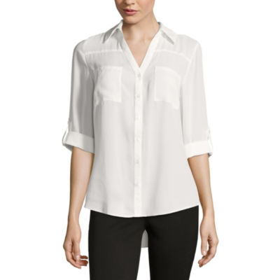 by&by 3/4-Sleeve Button-Up Woven Shirt - Juniors