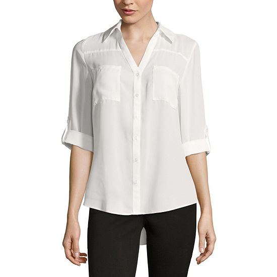 Byby 3 4 Sleeve Button Up Woven Shirt Juniors