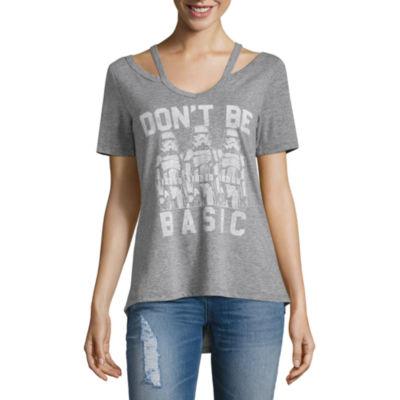Short Sleeve V Neck Star Wars Graphic T-Shirt-Juniors