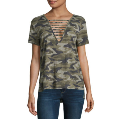 Arizona Short Sleeve Round Neck Pattern T-Shirt-Womens Juniors