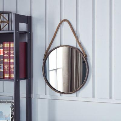 "Danya B. 15"" Gold Patina Round Mirror with Hanging Rope"