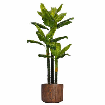 77 Inch Tall Real Touch Evergreen In Faux-Wood Planter