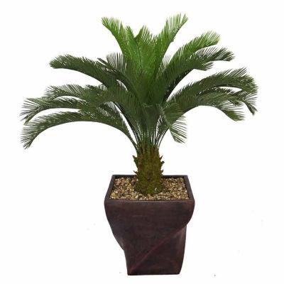 Laura Ashley 58 Inch Tall Cycas Palm Tree In 17 Inch Fiberstone Planter