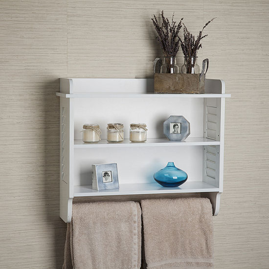 Danya B White Bath Cabinet With Adjule Shelf And Towel Bar