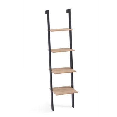 Danya Weathered Oak and Black Leaning Four Level Shelf