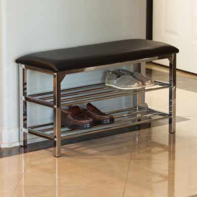 Danya B. Black Leatherette Storage Entryway Bench with Chrome Frame