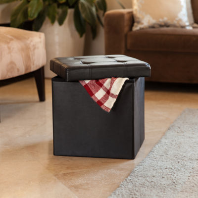 Danya B. Folding Storage Ottoman with Buttons -Black Faux Leather