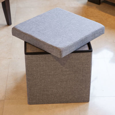 Danya B. Folding Storage Ottoman 3 Pc Set - Gray
