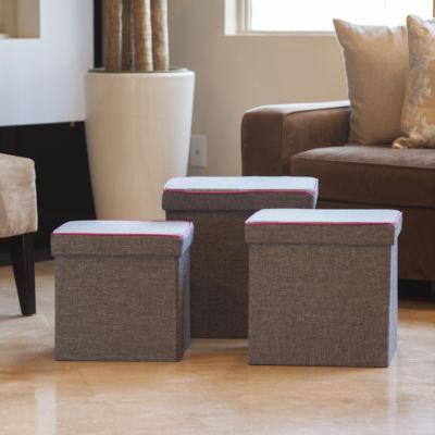 Danya B. Folding Storage Ottoman 3 Pc Set - Gray with Pink Piping