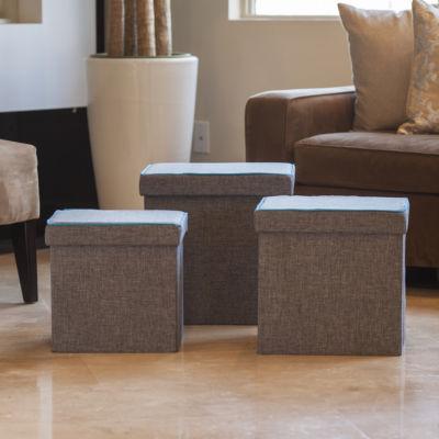 Danya B. Folding Storage Ottoman 3 Pc Set - Gray with Turquoise Piping