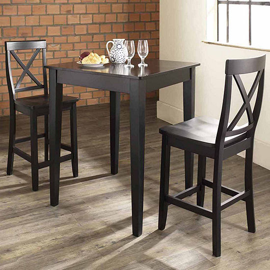 3-pc. Pub Dining Set With Tapered Leg and X-Back Stools