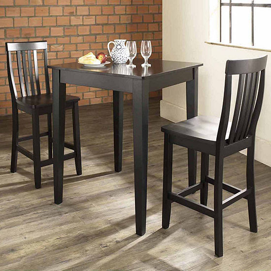 3-pc. Pub Dining Set With Tapered Leg and School House Stools