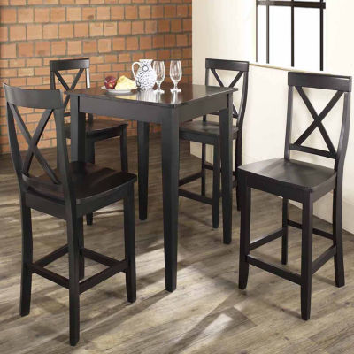 5-pc. Pub Dining Set With Tapered Leg and X-Back Stools