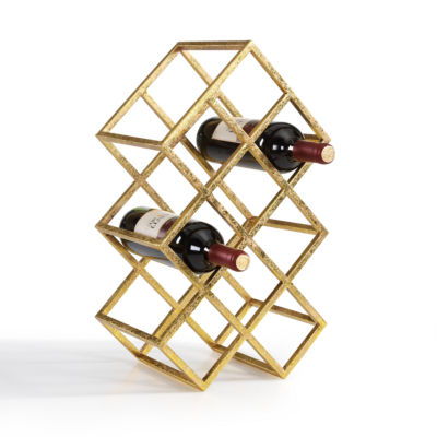 Danya B. Sparkling Gold 9 Bottle Wine Rack