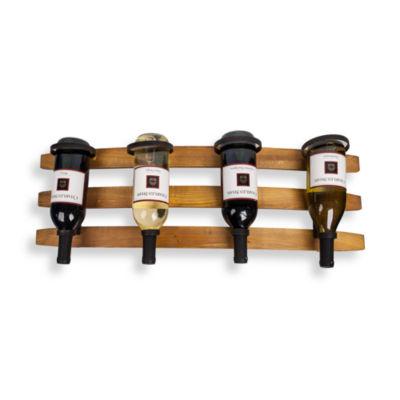 Danya B.  Horizontal Triple Stave Wood and Iron Rustic 4 Bottle Wall Mount Wine Holder