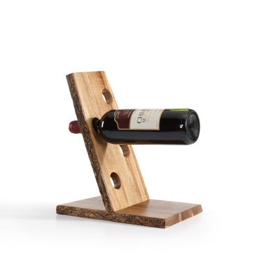 Danya B. Four Bottle Floating Wine Holder with Bark