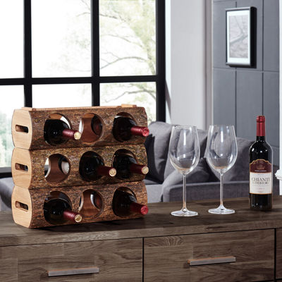 Danya B. Stackable Three Bottle Wine Holder Log - Acacia Wood with Bark