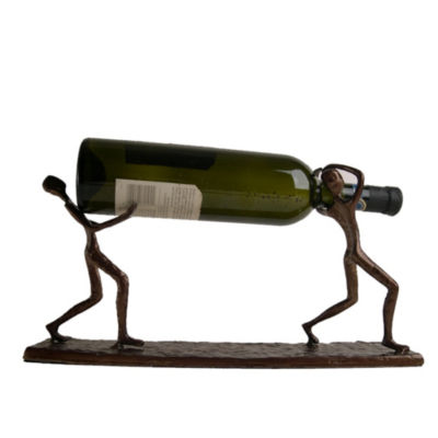 Danya B. Two Men Carrying a Bottle Metal Wine Holder