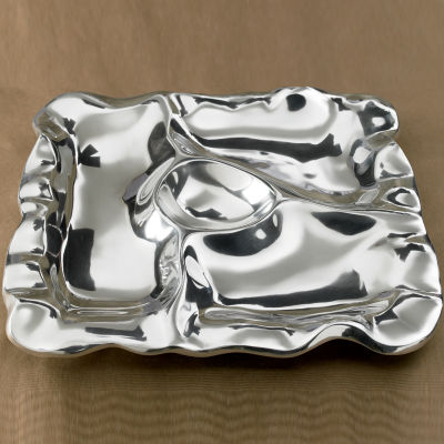 """St. Croix Trading Kindwer 16"""" Square Free Form 4-Section Tray"""