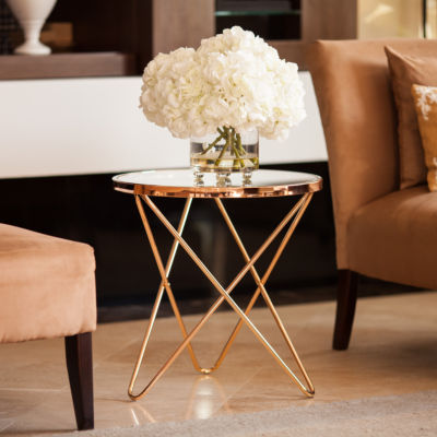 Danya B.  Tetra Clear Glass top Round End Table with Gold Metal Frame
