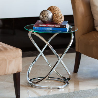 Danya B. Galaxy Chrome and Tempered Glass Round End Table
