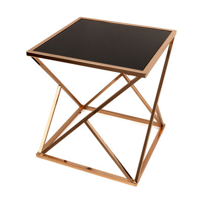 Danya B. Square Rose Gold End Table with Black Glass top