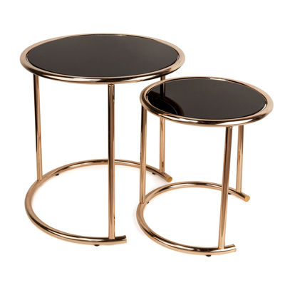Danya B. Set of 2 Nested Round End Tables with Black Glass-top and Rose Gold Metal Frame