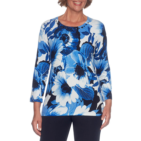 Alfred Dunner High Roller 3/4 Sleeve Crew Neck Floral Pullover Sweater