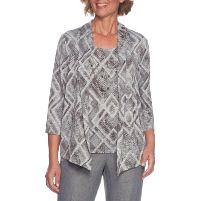 Alfred Dunner Silver Belles 3/4 Sleeve Layered Top