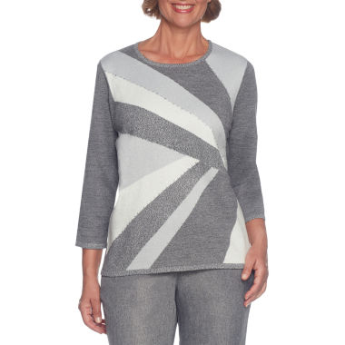 Alfred Dunner Silver Belles 3/4 Sleeve Crew Neck Pullover Sweater