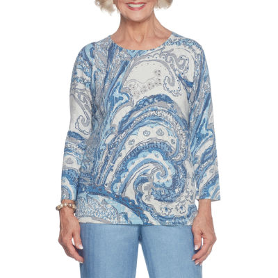 Alfred Dunner Silver Belles 3/4 Sleeve Crew Neck Paisley Pullover Sweater