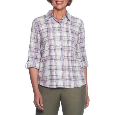 Alfred Dunner Palm Desert Roll Sleeve Plaid Button-Front Shirt