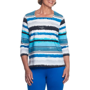 Alfred Dunner Easy Going 3/4 Sleeve Square Neck Stripe T-Shirt-Womens