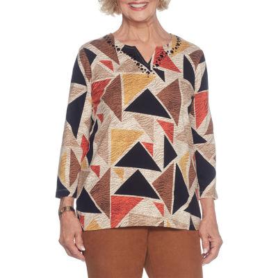 Alfred Dunner Jungle Love 3/4 Sleeve Split Crew Neck T-Shirt-Womens